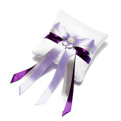Chic Ring Pillow With Ribbons/Pearl
