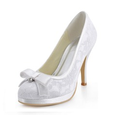 Women's Silk Like Satin Stiletto Heel Closed Toe Platform With Bowknot