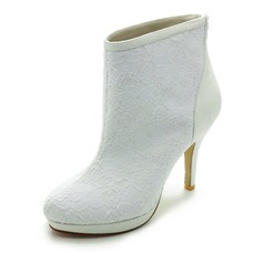 Satin Closed Toe Platform Boots Wedding Shoes With Stitching Lace (047017789)