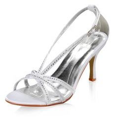 Satin Stiletto Heel Sandals Wedding Shoes With Buckle Rhinestone (047005863)