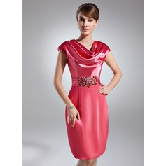 Sheath/Column Cowl Neck Knee-Length Charmeuse Cocktail Dress With Ruffle Beading