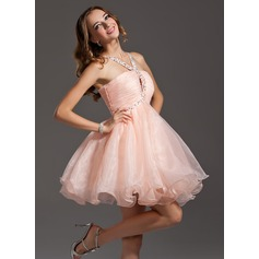 Empire V-neck Short/Mini Organza Homecoming Dress With Ruffle Beading Sequins