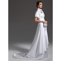 A-Line/Princess Scalloped Neck Court Train Satin Wedding Dress With Ruffle