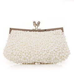Gorgeous Silk With Imitation Pearl Clutches/Evening Handbags