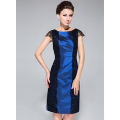 Sheath/Column Scoop Neck Knee-Length Taffeta Mother of the Bride Dress With Ruffle Lace