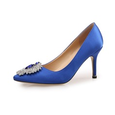 Women's Satin Pumps Closed Toe With Rhinestone shoes