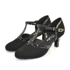 Women's Leatherette Suede Heels Pumps Modern With T-Strap Dance Shoes