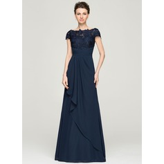A-Line/Princess Off-the-Shoulder Floor-Length Chiffon Lace Evening Dress With Cascading Ruffles