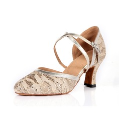 Women's Leatherette Lace Heels Pumps Modern With Ankle Strap Dance Shoes