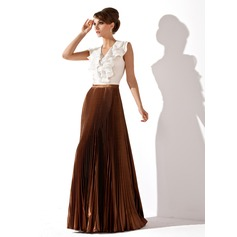 A-Line/Princess V-neck Floor-Length Chiffon Charmeuse Mother of the Bride Dress With Cascading Ruffles Pleated