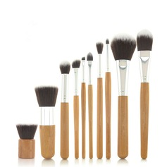 10 Pcs Synthetic Hair Bamboo Handel Makeup Brush Set With Fibre Bag (046049065)