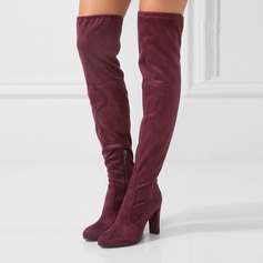 Women's Suede Chunky Heel Pumps Boots With Zipper Lace-up shoes
