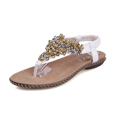 Leatherette Flat Heel Sandals Flats Flip Flops With Rhinestone shoes