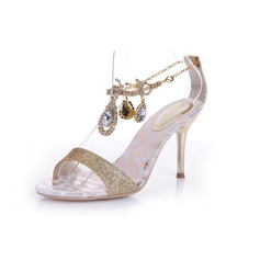 Sparkling Glitter Stiletto Heel Sandals Pumps With Rhinestone Chain shoes