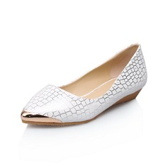 Leatherette Flat Heel Flats Closed Toe shoes (086052442)