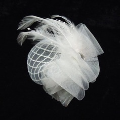 Fashion Pearl Net Yarn Feather Fascinators