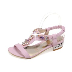 Leatherette Chunky Heel Sandals Slingbacks With Rhinestone shoes (087064854)