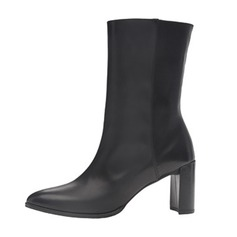 Women's Leatherette Chunky Heel Pumps Closed Toe Boots Mid-Calf Boots shoes