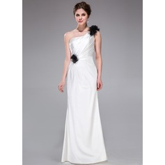 Sheath/Column One-Shoulder Floor-Length Charmeuse Bridesmaid Dress With Ruffle Flower(s)