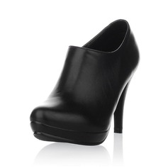 Real Leather Spool Heel Ankle Boots With Zipper shoes