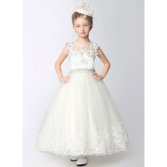 A-Line/Princess Ankle-length Flower Girl Dress - Dacron Sleeveless Scoop Neck With Lace/Beading/Flower(s)/Rhinestone (010092271)