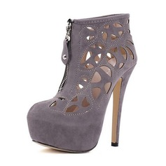 Suede Stiletto Heel Closed Toe Ankle Boots With Zipper shoes