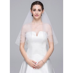 Two-tier Elbow Bridal Veils With Beaded Edge (006078823)