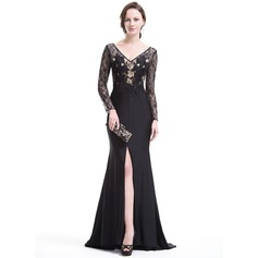 Trumpet/Mermaid V-neck Sweep Train Lace Jersey Evening Dress With Split Front