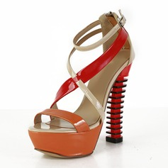 Patent Leather Chunky Heel Sandals Platform Wedges With Split Joint shoes