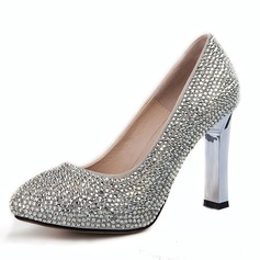 Women's Real Leather Chunky Heel Closed Toe Pumps With Rhinestone