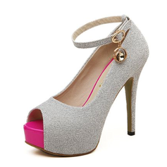 Women's Suede Stiletto Heel Platform Peep Toe With Rhinestone Buckle shoes