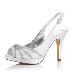 Women's Satin Stiletto Heel Sandals Slingbacks Dyeable Shoes With Rhinestone