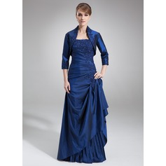 A-Line/Princess Strapless Floor-Length Taffeta Mother of the Bride Dress With Lace Beading Sequins Cascading Ruffles