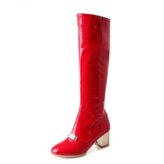 Women's Patent Leather Chunky Heel Knee High Boots shoes (088074438)