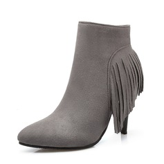 Women's Suede Stiletto Heel Ankle Boots With Tassel shoes