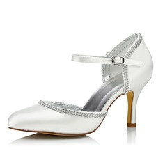 Women's Satin Stiletto Heel Pumps Dyeable Shoes With Rhinestone