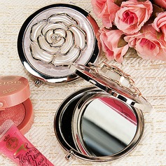White Rose Cover Hard plastic Compact Mirror