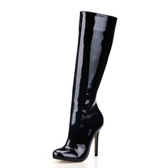 Patent Leather Stiletto Heel Closed Toe Knie Lengte Laarzen schoenen
