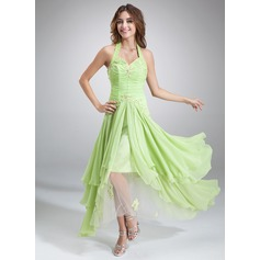 A-Line/Princess Halter Asymmetrical Chiffon Holiday Dress With Ruffle Beading Appliques Lace Sequins (020036568)