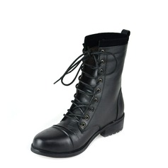 Women's Real Leather Low Heel Closed Toe Ankle Boots With Lace-up shoes