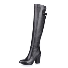 Real Leather Chunky Heel Knee High Boots Riding Boots shoes