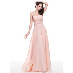 A-Line/Princess Sweetheart Floor-Length Chiffon Prom Dress With Ruffle Beading Sequins (018059419)