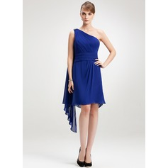 Sheath/Column One-Shoulder Knee-Length Chiffon Homecoming Dress With Beading