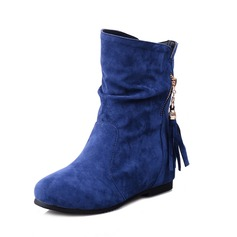 Suede Flat Heel Ankle Boots With Zipper shoes