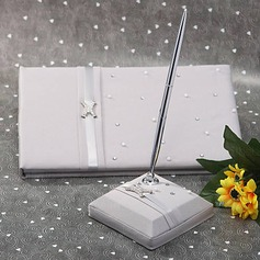 Perfect Satin Rhinestones/Bow Guestbook/Pen Set