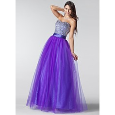 A-Line/Princess Sweetheart Floor-Length Tulle Prom Dress With Ruffle Beading Sequins (018004898)