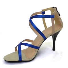 Women's Satin Heels Sandals Latin Ballroom Wedding Party Dance Shoes