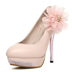 Leatherette Stiletto Heel Closed Toe Platform Pumps With Rhinestone Flower (085024454)