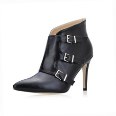 Leatherette Stiletto Heel Closed Toe Ankle Boots With Buckle shoes ()