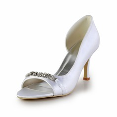Satin Cone Heel Peep Toe Pumps Wedding Shoes With Rhinestone (047026400)